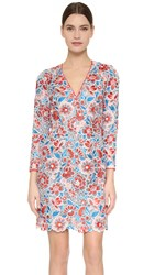 Wes Gordon Embroidered Long Sleeve Dress Multi