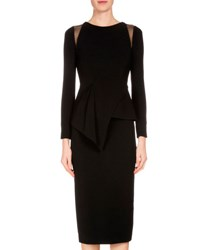 Roland Mouret Long Sleeve Crepe Peplum Top Black