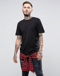 Asos Longline T Shirt With Check Hem Extender And Mock Tie Waist Black