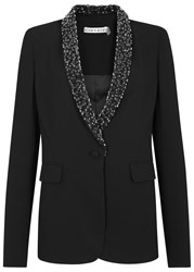 Alice Olivia Macey Black Sequin Embellished Blazer