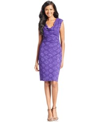 Connected Sleeveless Sequined Lace Dress Purple