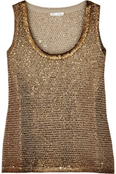 Oscar De La Renta Coated Sequined Knitted Tank