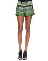Andrew Marc New York Striped Tweed Shorts Black Green Women's