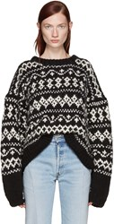 Wendelborn Black Surreal Fair Isle Sweater