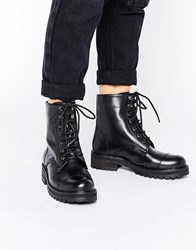 Park Lane Chunky Lace Up Flat Boot Black Leather