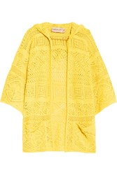 Emilio Pucci Crocheted Cotton Hooded Cardigan Yellow