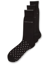 Perry Ellis Men's Everyday Value Microluxe Dot Socks 3 Pack Black Assorted