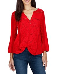 Lucky Brand Lace Front Three Quarter Sleeve Top Tomato Red