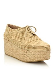 Robert Clergerie Lace Up Raffia Espadrille Platform Wedge Sneakers