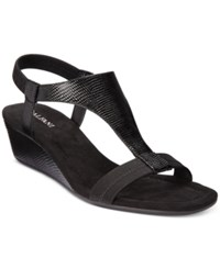 Alfani Vacanza Wedge Sandals Only At Macy's Women's Shoes Black Lizard