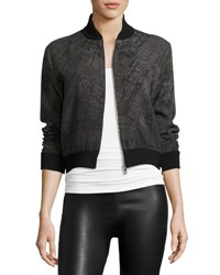 Rani Arabella Printed Zip Front Bomber Jacket Black Gray Blk Grey