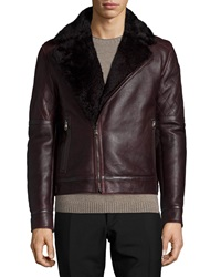 Salvatore Ferragamo Shearling Collar Leather Moto Jacket Burgundy