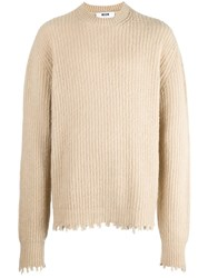 Msgm Ribbed Knit Jumper Nude And Neutrals