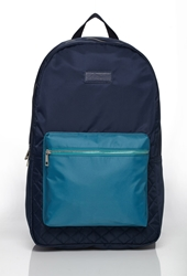 Forever 21 Colorblock Quilted Backpack Navy Teal