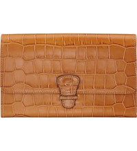 Aspinal Of London Classic Croc Embossed Leather Travel Wallet Tan