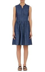 Barneys New York Denim Sleeveless Dress Blue