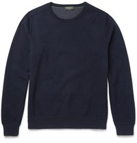 Berluti Double Faced Brushed Cotton Blend Jersey Sweatshirt Blue