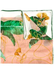 Dolce And Gabbana Banana Leaf Print Scarf Pink And Purple