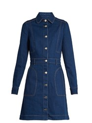 Stella Mccartney Long Sleeved Denim Dress Blue