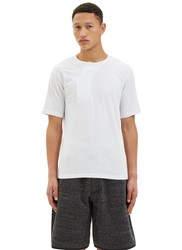 Y 3 Asymmetric Buttoned Crew Neck T Shirt White
