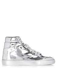 Balenciaga High Top Leather Trainers Silver
