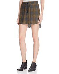 Bella Dahl Plaid Drawstring Mini Skirt 100 Bloomingdale's Exclusive Olive