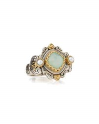 Konstantino Sea Blue Agate And Pearl Ring
