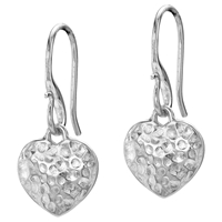Dower And Hall Hammered Heart Drop Earrings Silver