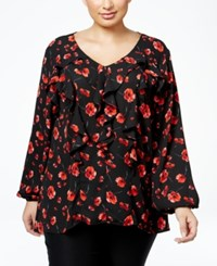Ny Collection Plus Size Ruffled Floral Print Blouse Black Poppy