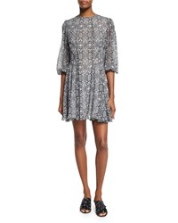 Derek Lam Puff Sleeve Printed Silk Dress Black Multi Size 33 Black Multi