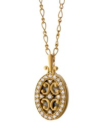 18K Gold Diamond Oval Gate Locket Necklace