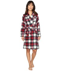 Lauren Ralph Lauren Folded So Soft Terry Short Robe Plaid Cream Blue Red Women's Robe