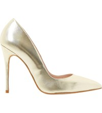 Dune Allegra Pointed Toe High Heel Court Shoes Gold Leather