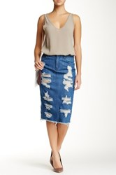 Fire Decon Denim Midi Skirt Blue