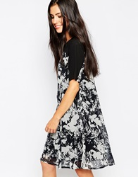 Lashes Of London Shift Dress In Monochrome Print Black