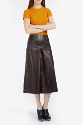 Rachel Comey Elixir Leather A Line Skirt Red
