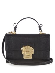 Dolce And Gabbana Lucia Lizard Effect Leather Cross Body Bag Black