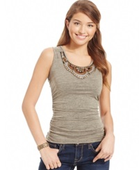 Amy Byer Bcx Juniors' Embellished Ruched Tank Top Champagne