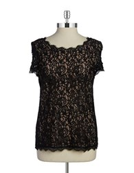 Adrianna Papell Lace Top Black Nude