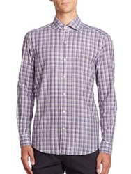 Ermenegildo Zegna Plaid Patterned Long Sleeve Shirt Dark Blue Check