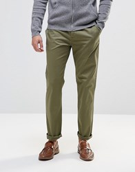 Asos Straight Chinos In Khaki Burnt Olive Green