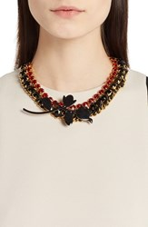 Women's Marni 'Strass' Leather Crystal Chain And Ribbon Statement Necklace