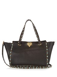 Valentino Rockstud Rolling Grained Leather Tote Black