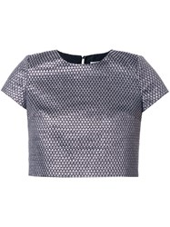 Ingie Paris Woven Effect Crop T Shirt Metallic