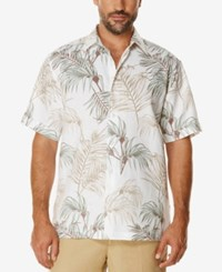 Cubavera Men's Big And Tall Tropical Foliage Short Sleeve Shirt Bright White