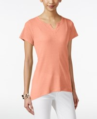 Styleandco. Style And Co. Petite High Low Split Neck T Shirt Only At Macy's Peach Zing