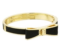 Kate Spade Perfectly Placed Hinged Leather Bow Bangle Bracelet Black Bracelet