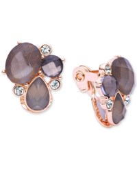 Anne Klein Crystal Cluster Clip On Earrings Rose Gold