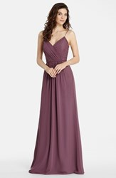 Women's Jim Hjelm Occasions 'Luminescent' Draped V Neck A Line Chiffon Gown Frosted Violet