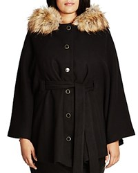 City Chic Faux Fur Capelet Coat Black